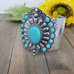 Jewelry - Western Style Silver and Turquoise Cuff Bracelet